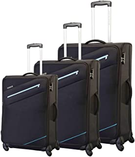American Tourister Luggage Trolley Bags Set Of 3 Pieces, Black, 30O09010, Unisex