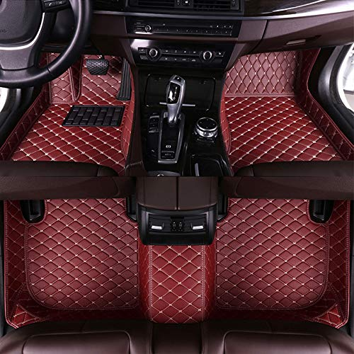 8X-SPEED Custom Car Floor Mats Fit for Mercedes Benz GLE Class 2015-2019 Full Coverage All Weather Protection Waterproof Non-Slip Leather Liner Set Red Wine