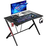 Mr IRONSTONE Gaming Desk 45.3' W x 29' D Home Office Computer Table, Black Gamer Workstation with Cup Holder, Headphone Hook and 2 Cable Management Holes