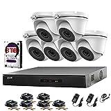 Hikvision 8CH CCTV Kit DVR 1080P et 6x 2.0MP Full HD 1080p Blanc dôme Caméras de vidéosurveillance IR 20m Vision de nuit visualisation à distance facile P2P Caméra de sécurité Système