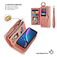iPhone XR Case Wallet, TABCase レトロPUレザー多機能ジッパーカードスロットリストバンドホルスター現金トート取り外し可能な磁気電話ケース財布カバー (iPhone XR 6.1,ピンク)