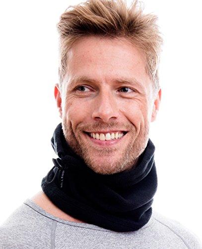 Hilltop Polar Multifunktionstuch/Motorradmaske/Skimaske/Kälteschutz/Gesichtsmaske/Halswärmer/Polar Halstuch mit Kordelzug 100% Fleece, Design/Farbe:schwarz