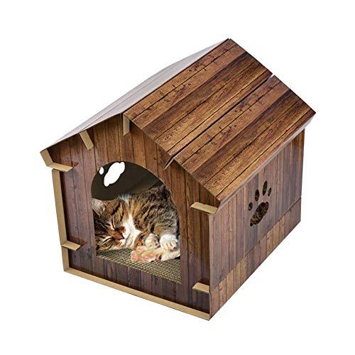 Class-Z Haustier Nest, DIY 3-in-1 Holzmaserung Kratzbrett Katze Haus,Cat Scratch Board Spielzeug Claw Plate Cat Bett Scratch Ruhe und Spielen