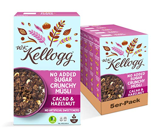 W.K. Kellogg Crunchy Müsli Cacao & Hazelnut   Schoko Müsli ohne Zuckerzusatz   5er Vorratspackung (5 x 400g)