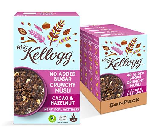 W.K KELLOGG Crunchy Müsli Cacao & Hazelnut ohne Zuckerzusatz, vegan & palmölfrei, 5er Pack (5 x 400 g)