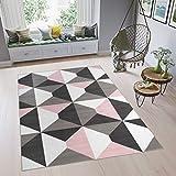 TAPISO Pimky Teppich Kurzflor Wohnzimmer Schlafzimmer Rosa Weiß Schwarz Grau Modern Geometrisch Marokkanisch Gitter Design ÖKOTEX 120 x 170 cm