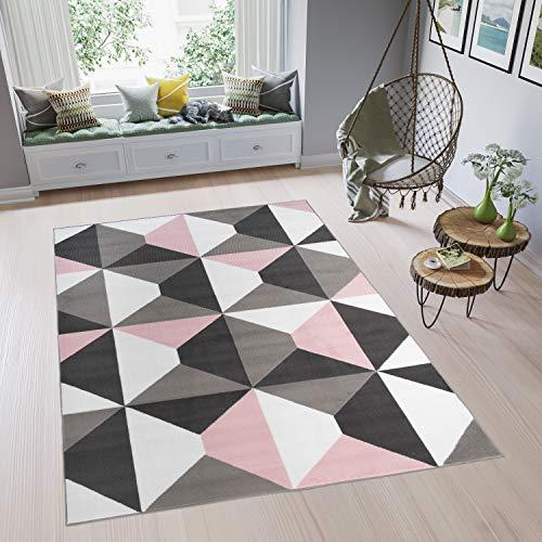 Tapiso Pinky Vloerkleed Woonkamer Slaapkamer Roze Creme Grijs Tiener Design Modern Trendy Sfeervol Geometrisch Duurzaam Hoogwaardig Tapijt Maat - 200 x 300 cm