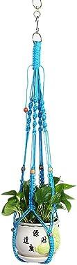 Kasoul Macramé Suspension en corde de coton pour décoration de jardin Hellblau 105 cm.