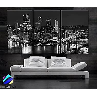 Large 30 x 60  3 Panels 30 x20  Ea Art Canvas Print Beautiful Pittsburgh Downtown City Skyline Black & White Wall Home (Included Framed 1.5  Depth)
