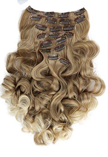 PRETTYSHOP XL 7 Teile Set Clip in Extensions 60cm Haarverlängerung Haarteil gewellt blond mix #27T613 CE4-1