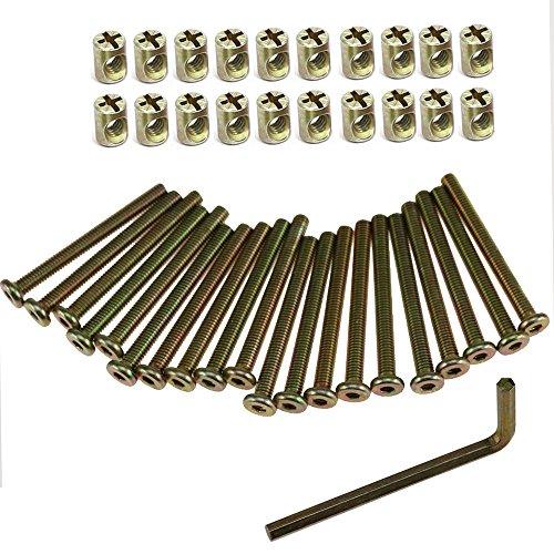 Inbus M6 Schraube und Zylindermutter 60mm Verzinkt Innensechskant Kappe Möbel Zylinderschrauben Schraubenschlüssel (60mm 41pcs)