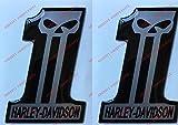 Par de adhesivos resinados con el logotipo de Harley Davidson, número One Skull con efecto 3D, para depósito o casco