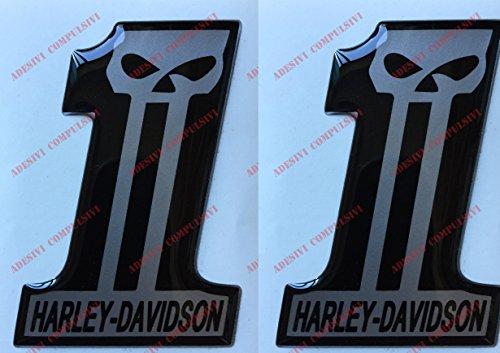 Escudo Logo Decal Harley Davidson, Number One, Skull, par pegatinas resinati, efecto 3d. Para depósito o casco