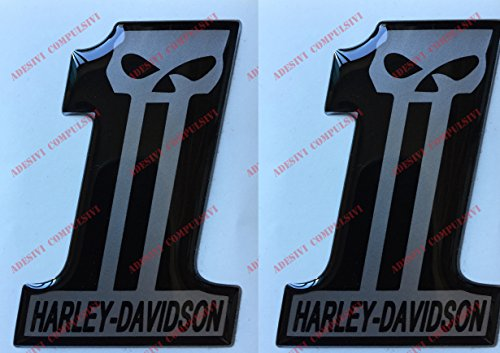 Decal Harley Davidson, Number One, Skull, Resinat-stickers, 3D-effect. Voor tank of case.