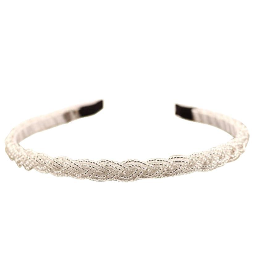 Women's Fashion Rhinestone Bead Crystal Headband Hair Band (White)
