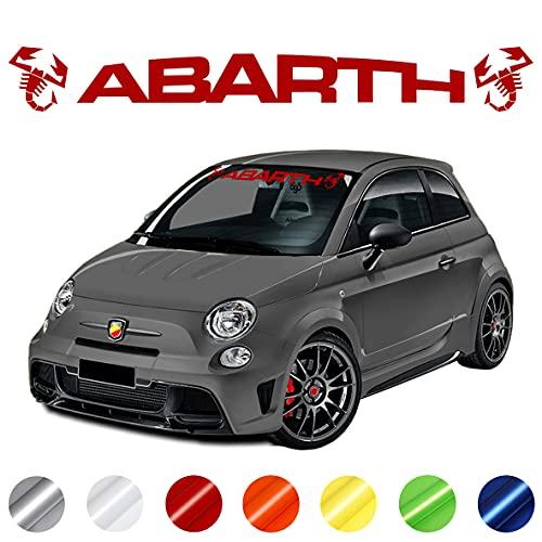 Wraplab Scorpioni Stickers Parabrezza Adesivi   Compatibile con Abarth 500, 595, 695 (Rosso Lucido)