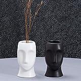 2er-Set Mini Vasen, Gesichter Vase Keramik, Moderne abstrakte Statue Vase mit Gesicht H 10cm, Skandinavisch menschliche Gesicht Ornamente für Home Wohnzimmer Büro, weiß und schwarz