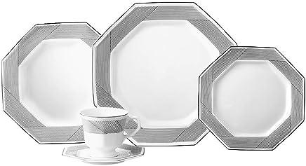 Serviço de Jantar e Chá, Porcelana Schmidt, Prisma Decoração Bauhaus 578 9 020 077 014 7023, Preto, pacote de 20