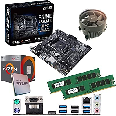 Components4All AMD Ryzen 3 2200G 3.5Ghz (Turbo 3.7Ghz) Quad Core CPU, ASUS Prime A320M-K Motherboard & 8GB 2133Mhz Crucial DDR4 RAM Pre-Built Bundle