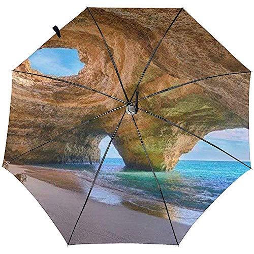 La Mejor Playa en Algarve Paraguas de Viaje a Prueba de Viento Impreso - Toldo Reforzado a Prueba de Viento