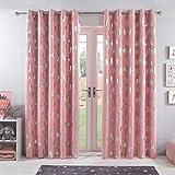 "Dreamscene Metallic Unicorn Thermal Blackout Supersoft Curtains, 100% Polyester-Foil Print, Blush Pink, 46"" Wide x 54"" Drop"
