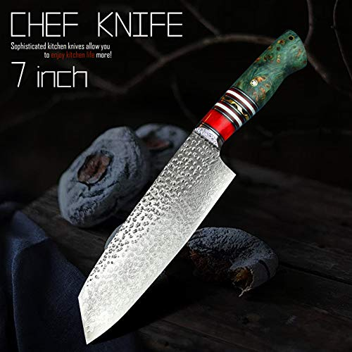 Best Quality Kitchen Knives 7 inch Damascus VG10 Santoku Knives Japanese Style Stable Wood Point Kitchen Cooking Chef Knife Carved With Leather Sheath