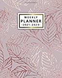 Weekly Planner 2021-2023: Pretty 3 Year Agenda, Calendar, Organizer | Diary with To Do Lists, Vision Boards, Notes, Holidays | Sparkly Rose Gold Leaves