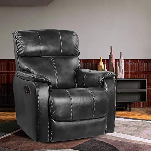 OT QOMOTOP Fabric Recliner Chair Sofa, Rocker Recliner Chair Manual Control, Single Rocking Recliner Sofa Ergonomic Lounge Chair for Living Room/Home Theater (Grey)