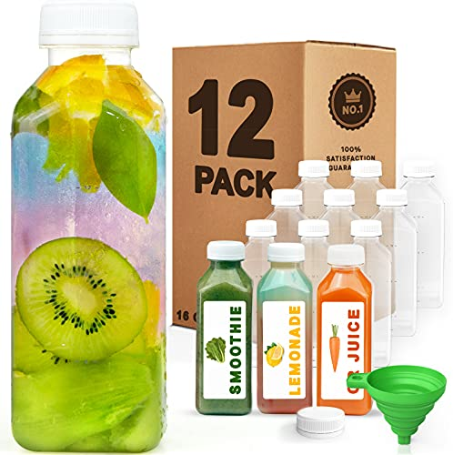 Norcalway 16 oz Plastic Juice Bottles with Caps Lids - Smoothie Bottles, Drink Juice Containers with Lids, Reusable Juice Bottles for Juicing, 12 Pack