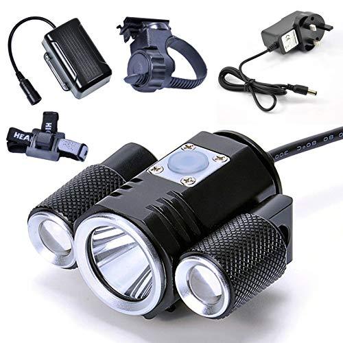 LED Fahrradlicht, Fahrradscheinwerfer Wasserdicht Einstellbar Fern- und Nahlicht Superhell 1900 lm, mit wiederaufladbarem wasserdichtem 8800 mAh Lithium-Akku(Color:Drehhalterung)