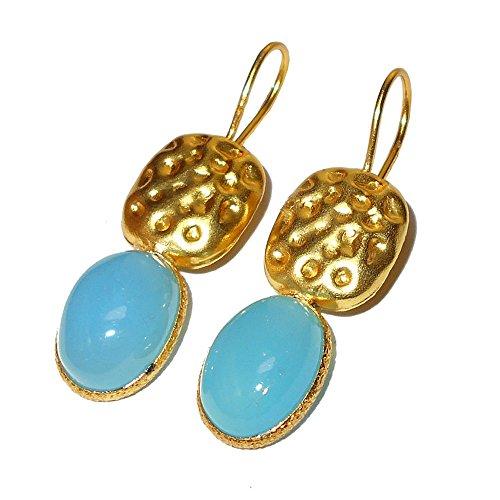 18K oro amarillo Vermeil azul calcedonia bisel Juego de pendientes de moda para las mujeres