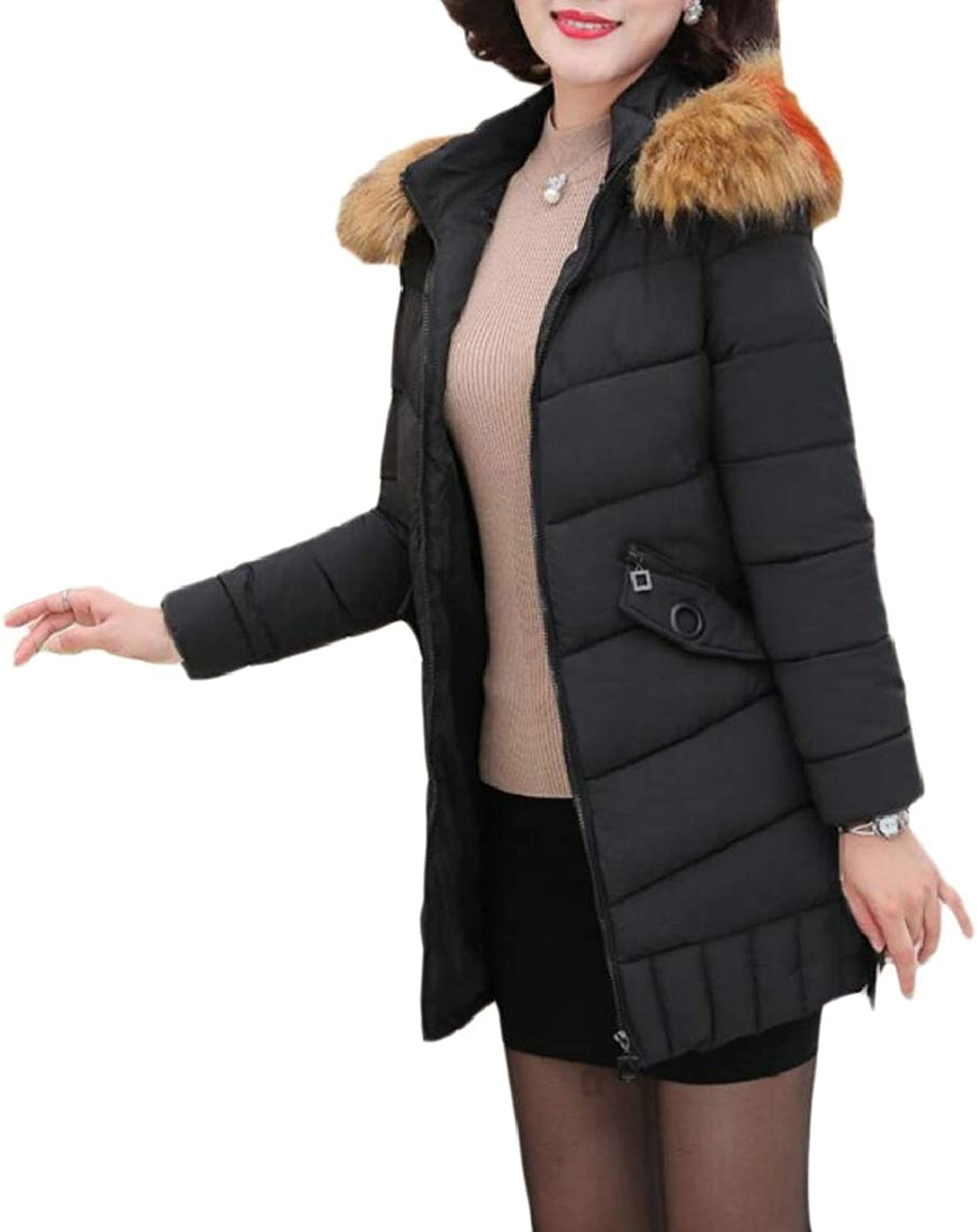 QDCACA Women Winter Warm Mid Long Hoodie FauxFur Collar Slim Down Jacket Coat