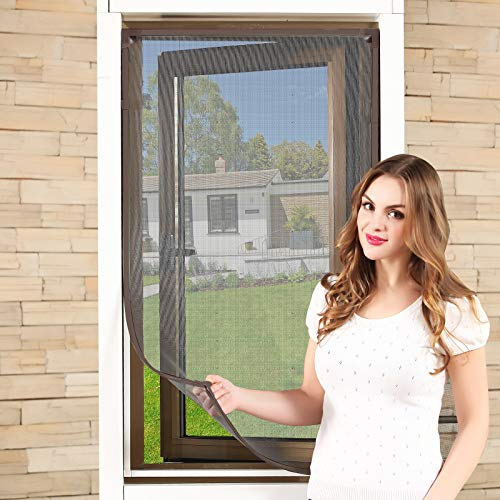 Magnetic Window Screen Size Up to 55'x 36' Max - DIY Screen Window with Full Frame Magnetic Strip Easy Installation (Brown Frame Nano Fiber PP Mesh)
