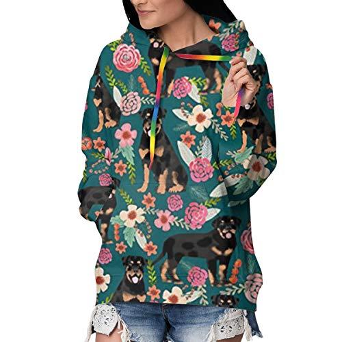 Melinda Perrodin Rottweiler Floral Dog Damen Hoodie Sweatshirt Pullover Pullover Casual aus hochwertigem Samt M