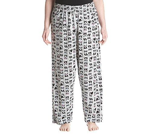 Hue Printed Knit Long Pajama Sleep Pant Plus Women's, Sterling Grey/Frenchiez, 1X