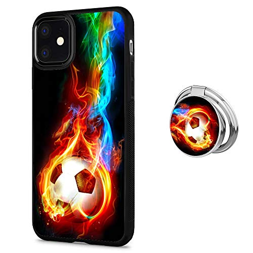 iPhone 11 Case with Holder Buckle Designed Flame Soccer Black TPU Antiskid Tread Case 360°Rotatable Silvery Ring Stand for iPhone 11