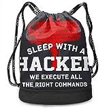 Rucksäcke,Sporttaschen,Turnbeutel,Daypacks, Sleep What A Hacker Hammer 3D Drawstring Bag Sport Gym Travel Bundle Backpack Pack Beam Mouth Shoulder Bags