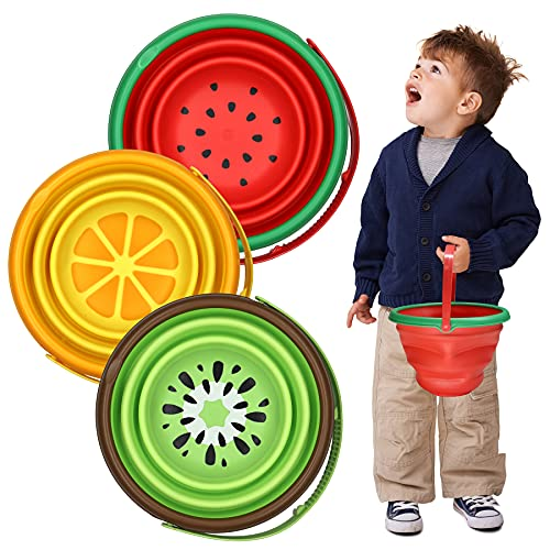 Beach Sand Toys Foldable Bucket 3PCS, Foldable Pail Bucket Beach Sand Bucket Silicone Collapsible Bucket for Kids Beach Play Camping Gear Water for Toddlers Kids Outdoor Indoor Play Gift, 2.5L