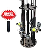 Rush Creek Creations 24 Round Fishing Rod/Pole Storage Floor Rack Barn Wood Finish - Features Free 6' Extension Post - No Tool Assembly (38-4057)
