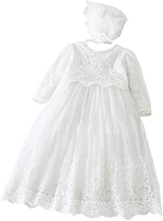 Baby Girls Long Sleeve Christening Dress Classic Embroidered Baptism Tulle Dress