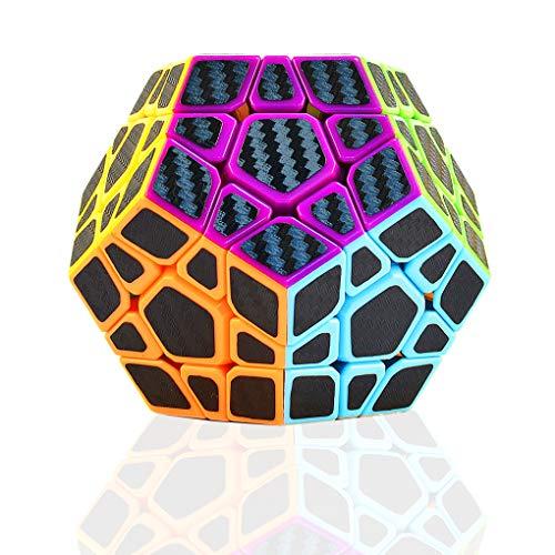 TOYESS Megaminx Dodecaedron Speed Cube Rompecabezas Cubo de Fibra de Carbono 3x3x3 Cubo Magico Liso Cubo de Velocidad Regalo para Adulto Niños,Negro