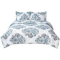 Bedsure 3-Pieces Damask Printed Comforter Set