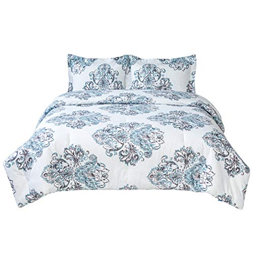 Bedsure Damask Printed Comforter Set Full/Queen 3 Pieces - Super Soft Microfiber Bedding for All Seasons - Reversible Down Alternative Comforter 88X88 inches with 2 Pillow Shams