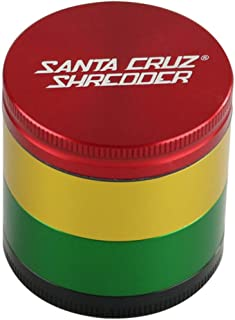 Santa Cruz Shredder 4pc Herb Grinder, Rasta, Red, Gold, Green, Black
