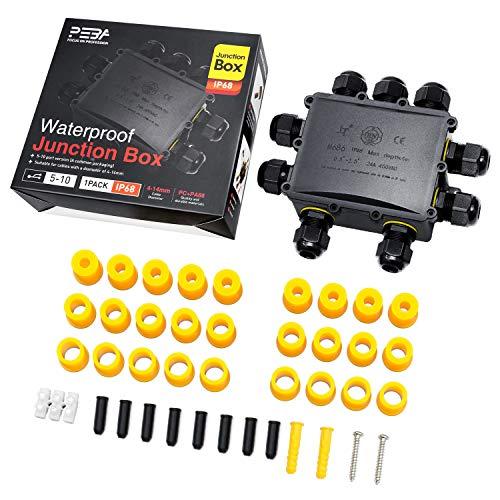 Wasserdicht Abzweigdose Erdkabel Kabelverbinder IP68 Verteilerdose steckdose aussen verteiler Ø4mm-14mm kabel für außen garten outdoor wasserdichte verbinder box 9-Wege steckdosen schwarz