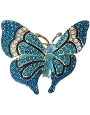 Broche con diseño de mariposas y brillantes, color azul y azul.