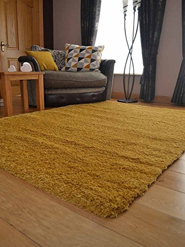 Soft Touch Shaggy Gold Ochre Thick Luxurious Soft 5cm Dense Pile Rug. Available in 9 Sizes (120cm x 170cm)