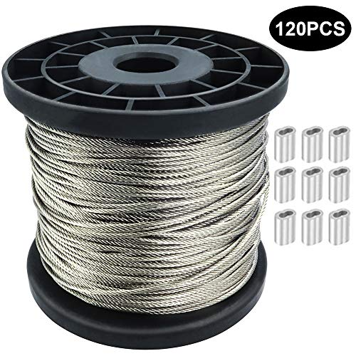 1/16 Wire Rope, 304 Stainless Steel Wire Cable, 250FT Length Aircraft Cable, 7x7 Strand Core, 368 lbs Breaking Strength, with 120 Pcs Aluminum Crimping Clamps Loop Sleeve