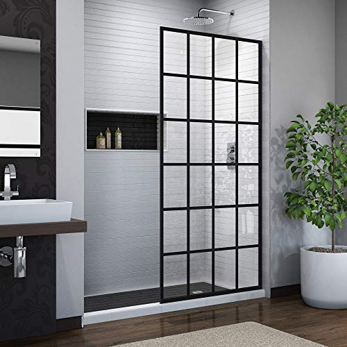 DreamLine French Linea Toulon 34 in. W x 72 in. H Single Panel Frameless Shower Door, Open Entry Design in Satin Black, SHDR-3234721-89