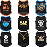 9 Pieces Dog Shirt Printed Black Summer Pet T-Shirt Cool Puppy Shirts Breathable Dog T-Shirts Soft Breathable Puppy Sweatshirt for Small Medium Dogs Cats (M)